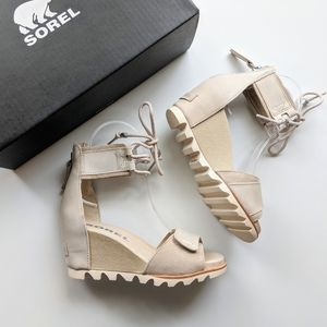 Sorel Joanie Ankle Lace Wedge Leather Sandals